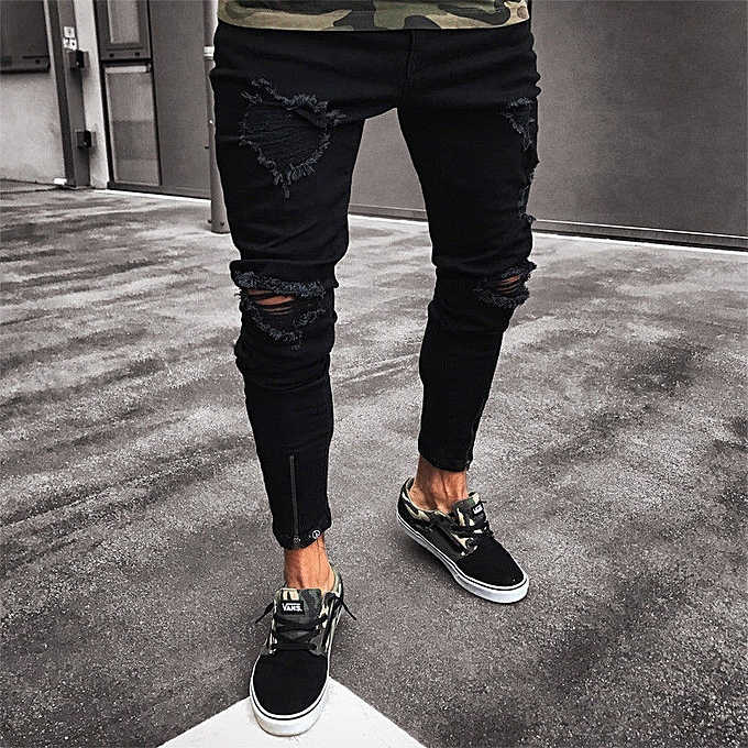 372a267ebe1 Men s Skinny Jeans Hole Elastic Zipper Men s Feet Pants Fashion Hiphop Slim  Jeans For Men-