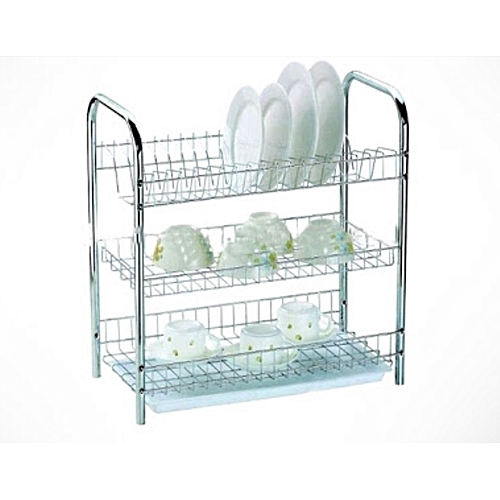 "3"" Tier Dish Rack With Tray - Stainless"
