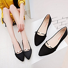 Hiamok Women's Solid Color Suede Flat Heel Pearl Flat Heel Pointed Casual Shoes Black for sale  Nigeria