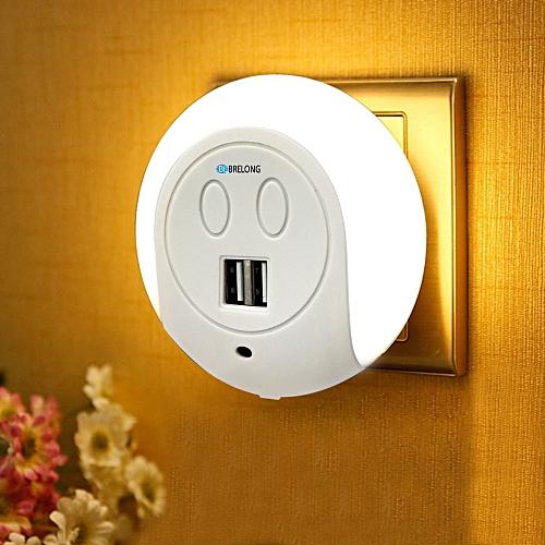 BRELONG XC - 016 2 USB Ports Charger / Light-sensor Night Light