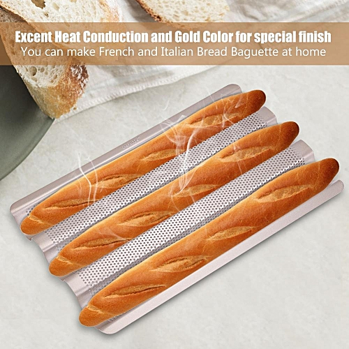 15inch French Bread Pan Baguette Baking Tray Perforated 3-slot Non Stick Bake Loaf Mould