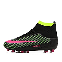 a42c94b09956 Men Football Shoes High Top Spike Soccer Shoes Cleat Boots (Black)