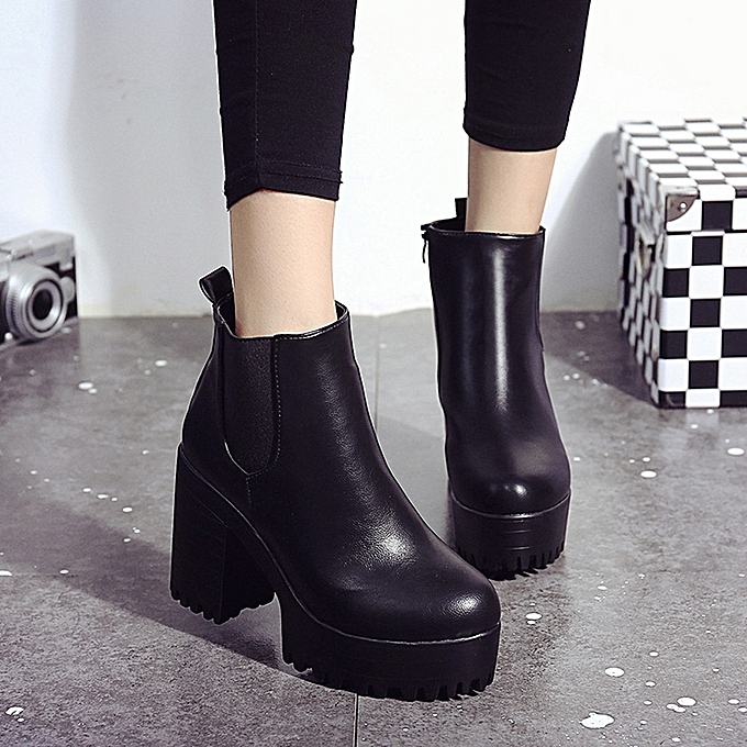e9f3120e70 ... Women Boots Square Heel Platforms Leather Thigh High Pump Boots Shoes BK  35