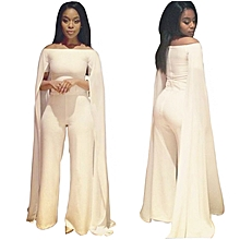 08dbf24a2e041 Womens Wide Leg Jumpsuits Off-shoulder High Waisted Flare Palazzo Pants Suit