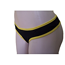 8e50c945b Tanga Thong Panties 1904(Black With Yellow Trimmings)