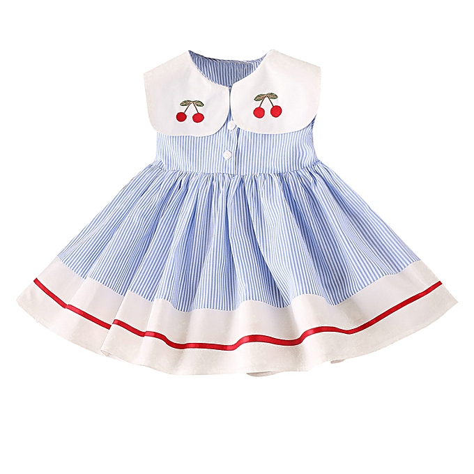 8ecbb0496fc9c Toddler Kids Baby Girls Clothes Sleeveless Cherry Stripe Party Princess  Dresses