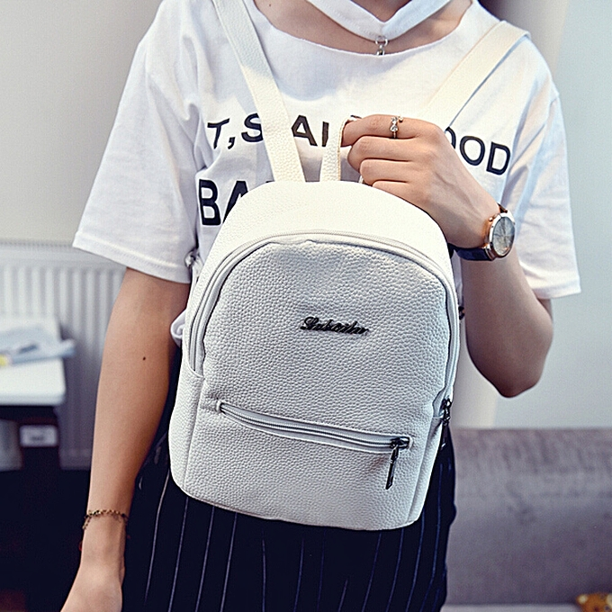 62031e6c4d2a07 Girls Leather School Bag Travel Backpack Satchel Women Shoulder Rucksack  WH- White