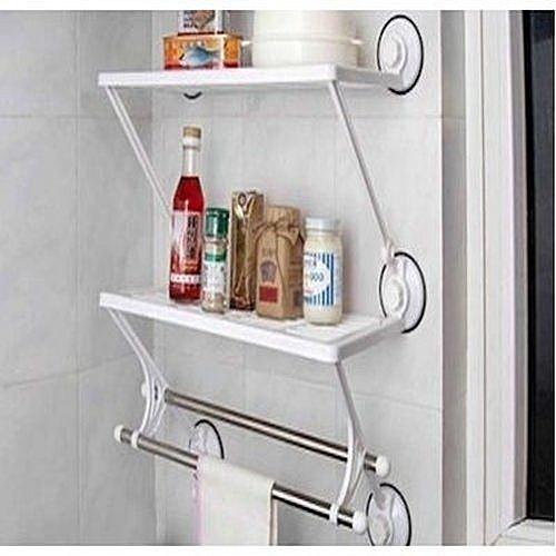 Bathroom / Kitchen Storage Rack With Towel Bar