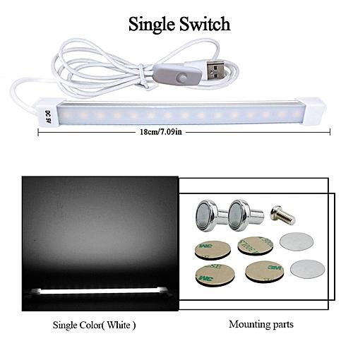 DC5V USB LED Strip Bar Light Portable Magnetic LED Desk Table Lamp Light For Book Reading Study Office Work Children Night Light(18cm White 3W)