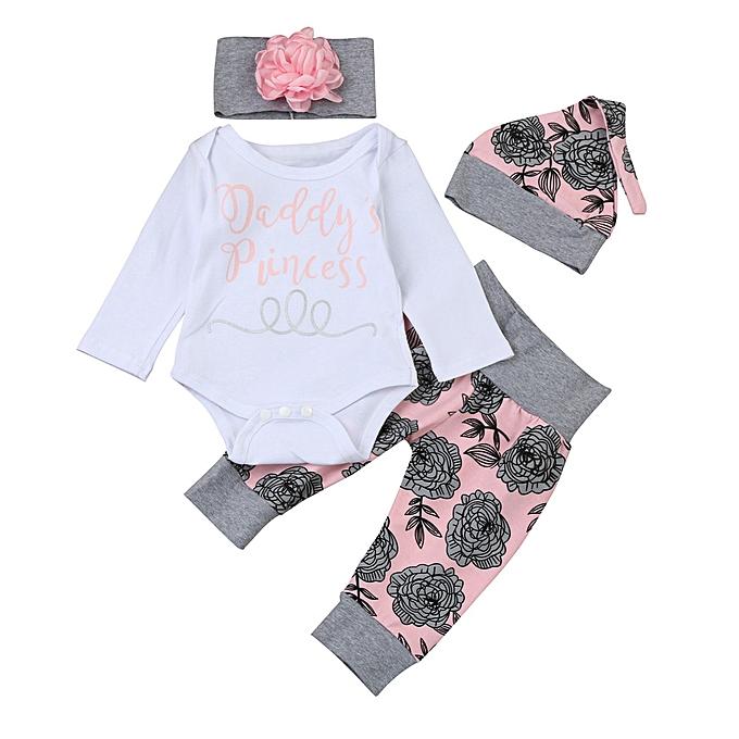 4c18a61a1e799 2019 Kids Kid Newborn Infant Baby Girl Letter Romper Tops+Floral Pants  Sport Pants Hat Outfits Clothes Set Suit Musiccool