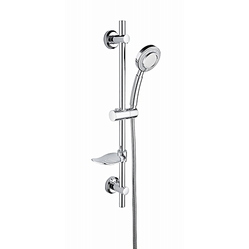 Stainless Steel Shower Set With Chrome Adhesive Sliding Bar, With Adjustable Height Hand Held Shower And Soap Dish For Bathroom, Shower Set,BC4044F