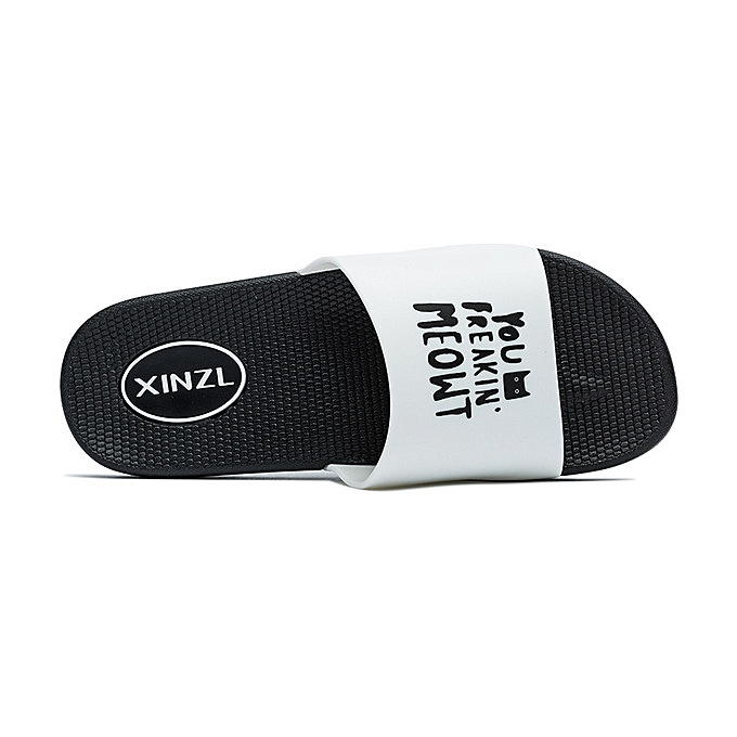2525c26896d96 Men Slipper Casual Shoes Letter Thick Bottom Bathroom Summer Sandals Flip  Flops Man-black