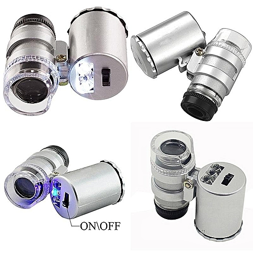 60x Handheld Mini Pocket Microscope Loupe Jeweler Magnifier With LED Light