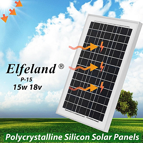 Elfeland 15W 18V Polycrystalline Silicon Solar Panel Caravan Charging Battery
