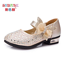 761a163b1ff Girls Princess Shoes Bow High Heel New Children  039 s Shoes-gold