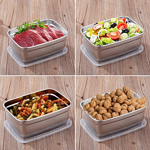 4Pcs Stainless Steel Food Containers With Leakproof Lids Rectangle