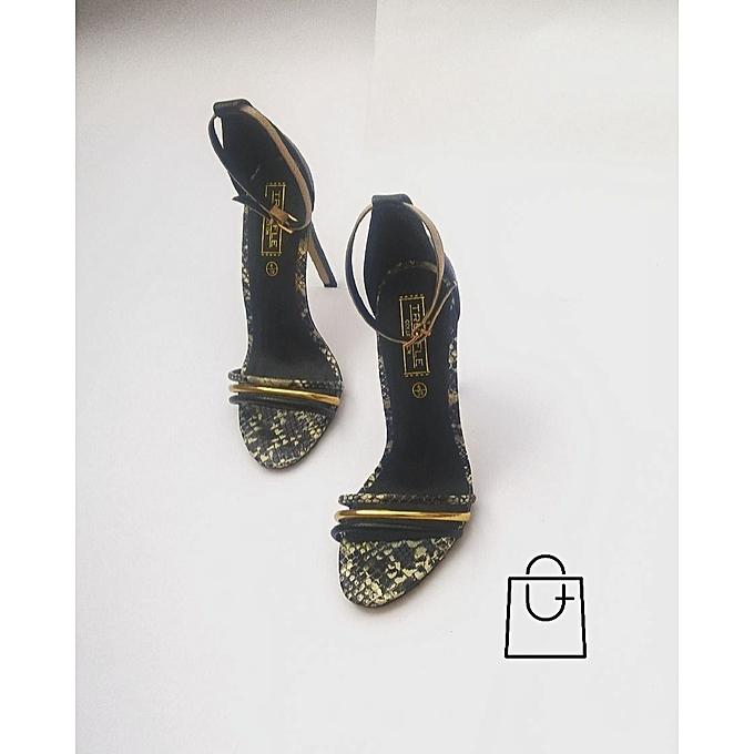 6eaa44edb615 Truffle Black And Grey Snake Skin Multi Strap Sandal