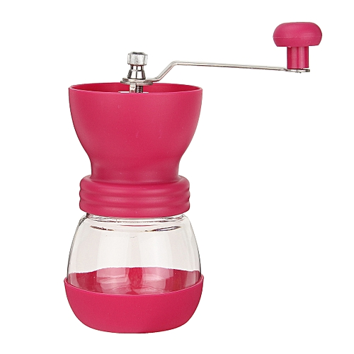 Manual Coffee Grinder W/ Ceramic Burr Glass Jar And Storage Lid Mill Mix Black