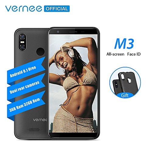 M3 5.5'' Full Screen-3GB+32GB-Android 8.1-3300mAh-2 SIM-13MP-Face ID-Fingerprint-GPS-4G LTE Mobile Phone(black)