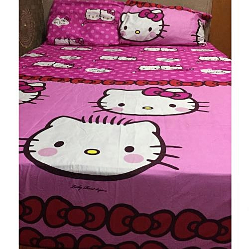 Hello Kitty And Dear Daniel Pink Kiddies Bedsheet