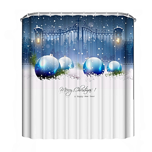 Hiamok_Dtrestocy Christmas Waterproof Polyester Bathroom Shower Curtain Decor With Hooks New E