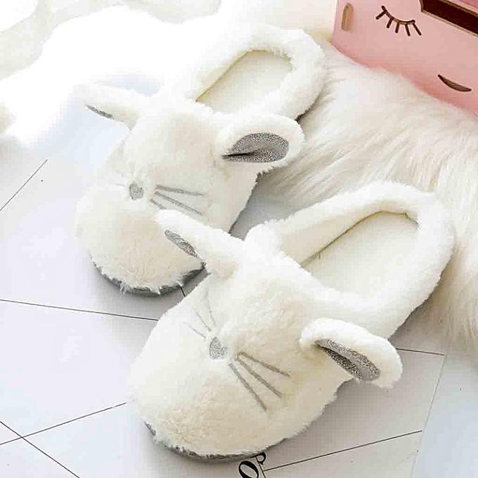 8b5cecc4422 ... Birthpar Store Soft Sole Cozy Plush Cute Indoor Home Slippers  Comfortable Home Shoes Women-White ...