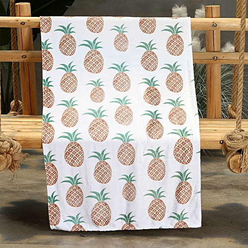 Dtrestocy Pineapple Summer Flannel Quilt Thin Bedding Throws Air Conditioning Blanket