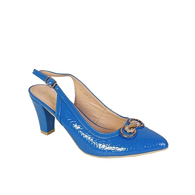779a9f564cd Roli House Block Heeled With Gold Crest- Royal Blue