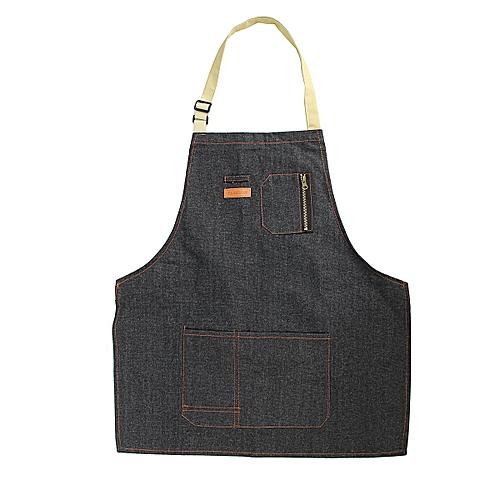 Coffee Shop Working Denim Apron Barista Pockets Soldering Chef Barber Work Wear (Short)