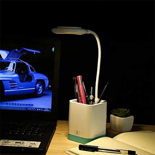 LED Desk Lamp Table Light With Pen Holder Ring Light Source Eye Protect USB Charging Touch Switch 3 Levels Dimmer Reading Lamp(Blue)