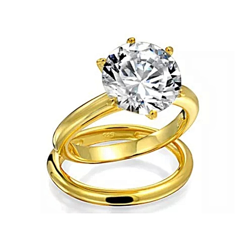 BLiNG Engagement 3.5 Ct Solitaire CZ Gold Plated Wedding Ring Set