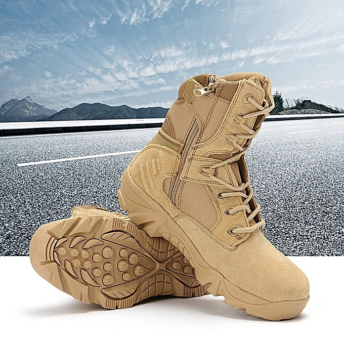 7b4224a56 New Army Tactical Desert Mens Leather Combat Boots Military Shoes Soldier  Sand