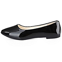 9399f7fa154dd Ladies Patent Corporate And Casual Flat Shoes- Black