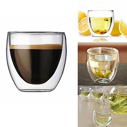 16pcs X 80ML Double Wall Coffee Glass Mug Cups Insulate Office Tea Mug