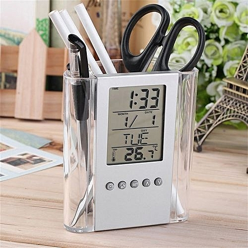 Multi-Functions Desk Pen Holder LCD Display Alarm Clock Thermometer Calendar