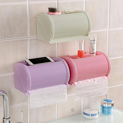 Plastic Waterproof Toilet Paper Holder Toilet Tissue Box Self Adhesive Bathroom Roll