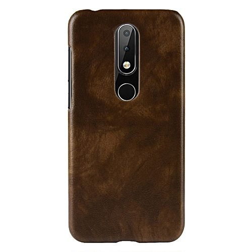 "Nokia X6 Case,[Litchi Texture] Ultra-thin Retro PU Leather Scratch-resistant Hard Back Cover Mixed Protective Cover For Nokia 6.1 Plus/Nokia X6 5.8"" -Brown"