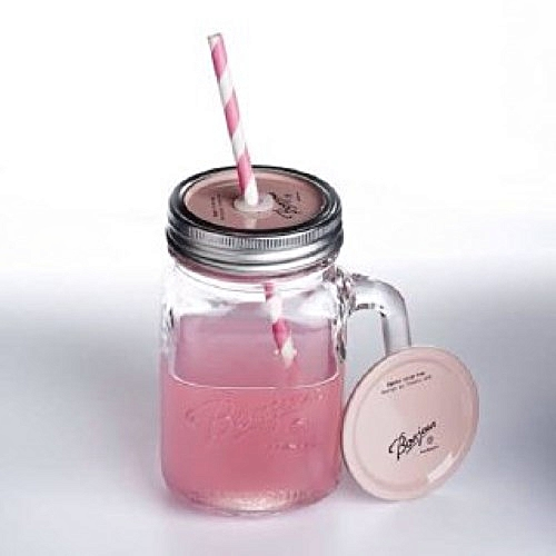 Glass Mason Jar With Checked Lid And Straw With Handle