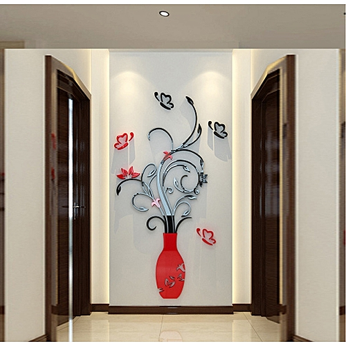 Diy 3d Acrylic Crystal Wall Stickers Living Room Bedroom Tv Background Home Red
