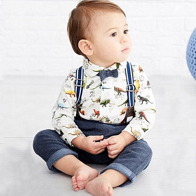 1cd5e68b6ae ... Featured Toddler Baby Boys Dinosaur Gentleman Bowtie Shirt Romper+Suspenders  Pants Set ...
