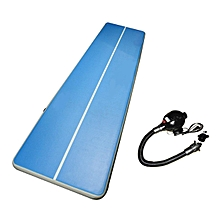 UJ Inflatable Gym Mat Air Floor Tumbling Track Gymnastics Cheerleading Pad Blue & White