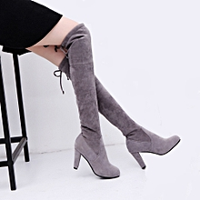 d3d7030d5e09 Women Stretch Faux Slim High Boots Over The Knee Boots High Heels Shoes (EU  Size)