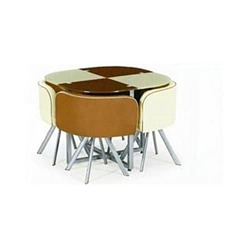 4 Seater Glass Dining Set - Brown & Cream