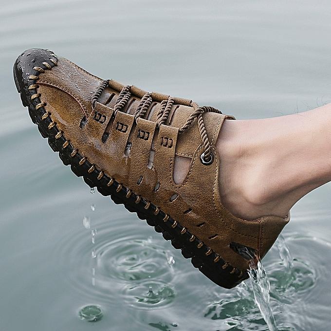 3d5e6b47d25b2 EUR Size 38-46 New Full Grain Leather Men Shoes Summer Men s Sandals Hot  Sale