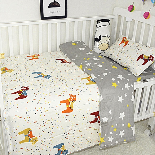 Baby Bedding Reversible Cot Quilt Cover Set Pillowcase Nursery Bed Animals