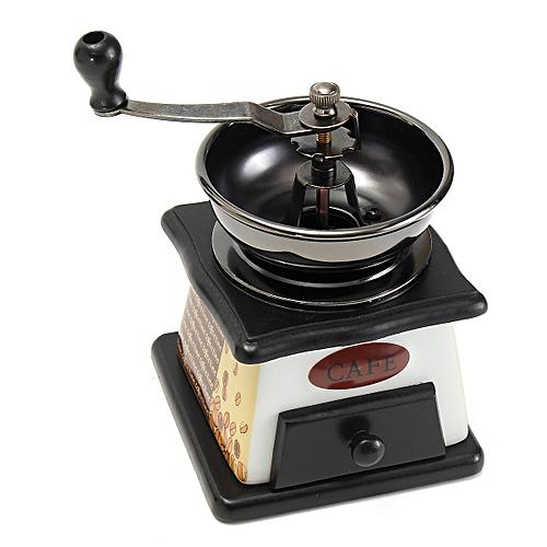 Vintage Grinder Manual Coffee Bean Grinding Machine Hand Wooden Retro Burr Mill
