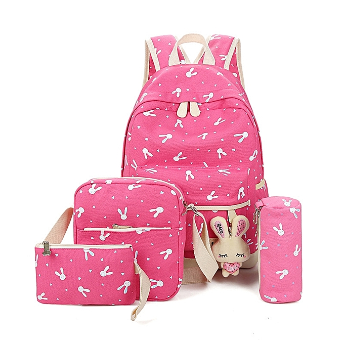BlueLife 5pcs Large Capacity Canvas Travel Backpack Sets Cute Rabbits  Pattern School Bag For Girls Women - Pink  be9052217a08f