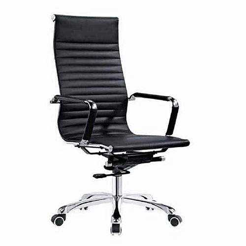 Office Chair Leather High Back - Black