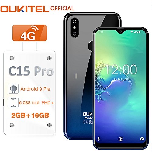 C15 Pro 6.088-Inch (2GB, 16GB ROM) Android 9 Pie (8MP + 2MP) + 5MP 4G EU Smartphone - Twilight Black