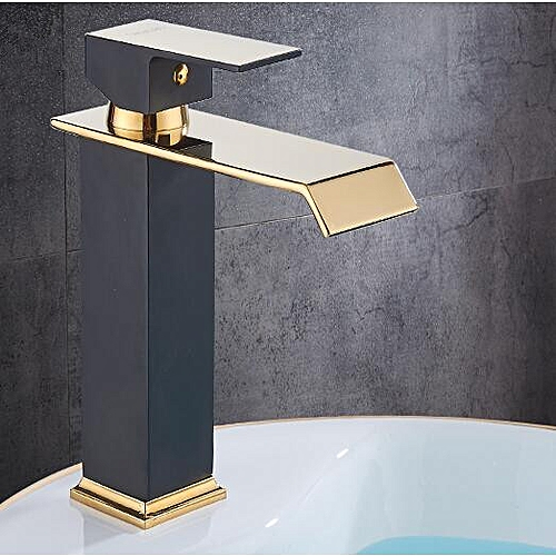Square Basin Faucets Waterfall Bathroom Faucet Single Handle Basin Mixer Tap Bath Antique Faucet Brass Sink Water Crane Gold HLI